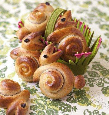 Idée de présentation pour Pâques, des brioches en forme de lapins.