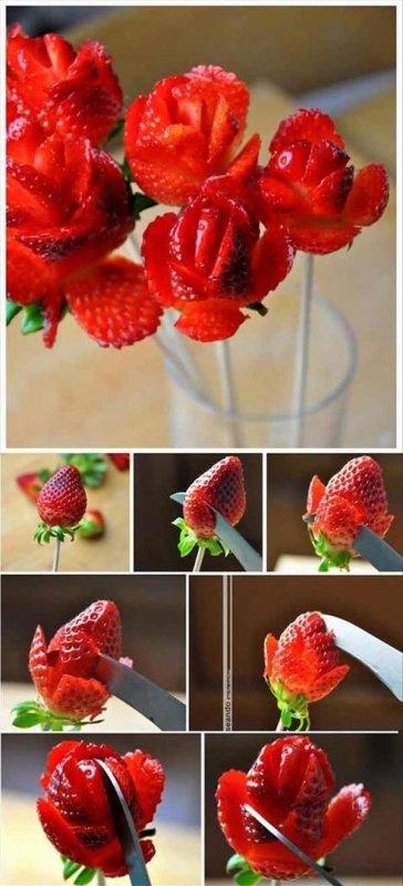 C'est la saison des fraises, une bonne idée de présentation.