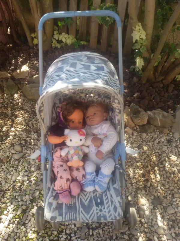 Il fait beau les bébés profitent du jardin dans leur poussette.
