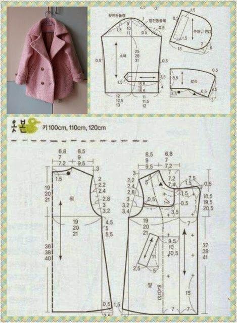 Patron pour coudre une veste pour les poupées ou les filles, cela dépend de la taille de l'agrandissement.