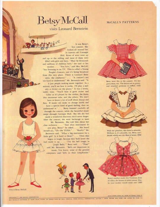 Envie d'occuper nos fifilles pendant ces vacances, voici un lien vers de nombreux paper dolls Besty McCall.