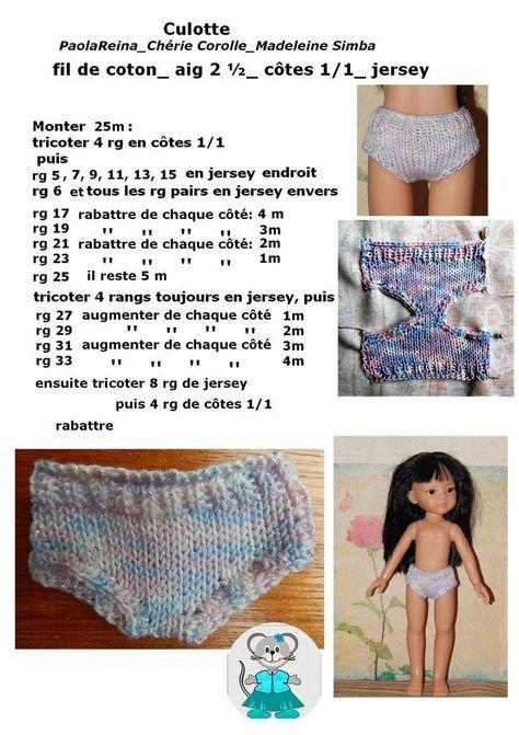 Tuto pour tricoter une culotte pour les poupées Corolle et Simbe.
