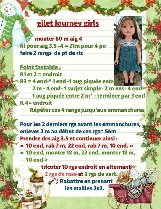 Tuto pour tricoter un  gilet pour les journeys girls, poupées de 45  centimètres.