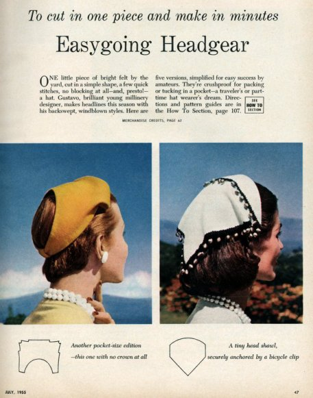 Des patrons pour des chapeaux à faire en une seule pièce, de 1955, idées à transposer pour nos poupées.