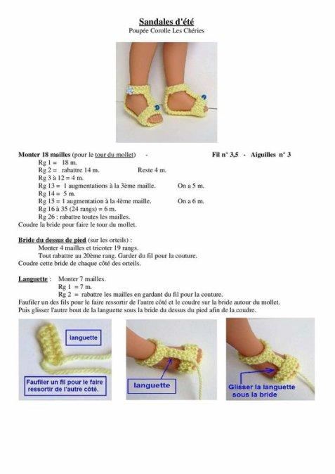Tuto pour tricoter des sandales d'été pour les Chéries de Corolle.