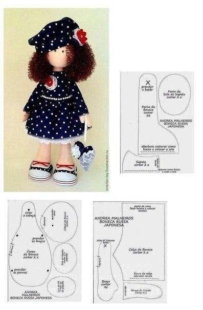 Pour celles qui préfèrent la couture , un patron pour réaliser une jolie poupée.