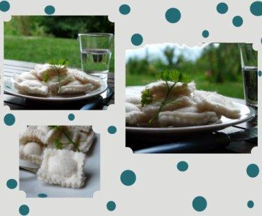 Avec de la feutrine, couds des raviolis pour la dinette.