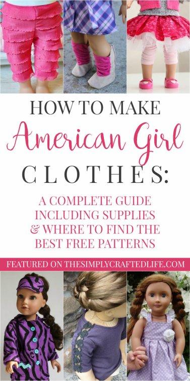 Des idées de couture pour American Girls. Il y a des patrons.