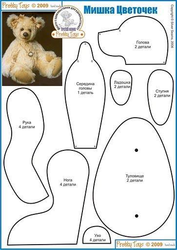 Patron pour coudre un ours ou plusieurs, on peut faire des minis ours pour nos poupées.