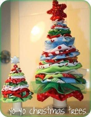 Arbres de Noel, quelques bonnes idées glannées sur le net avec quelques chutes de tissu.
