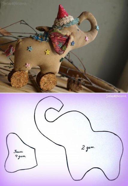 Un doudou éléphant à coudre pour nos poupées ou à offrir.