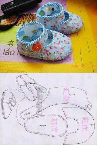 Un petit patron pour coudre des chaussures, on peut utiliser de la feutrine, c'est plus facile à travailler.
