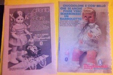 Publicités vintage Bambola Migliorati. 8 photos.