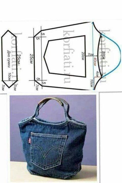 Patron pour coudre un petit sac dans un vieux jean's. Modèle facile.