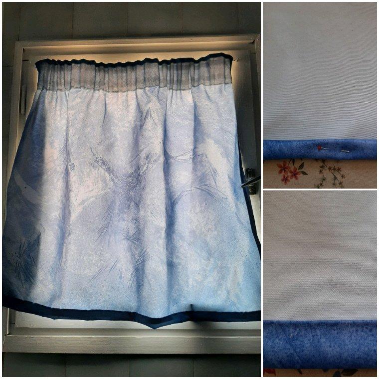 Pas trop la tête à faire des ouvrages en comptant, alors j'ai changé le rideau de ma salle de bain, joli bleu, de la récup. J'ai juste eu à faire l'ourlet.