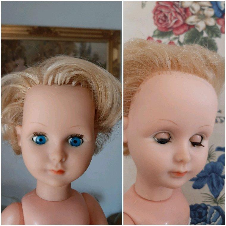 Quelques  mèches  re implantées. Une première  pour moi. Récupérées  sur la perruque d'une  poupée  en porcelaine cassée.