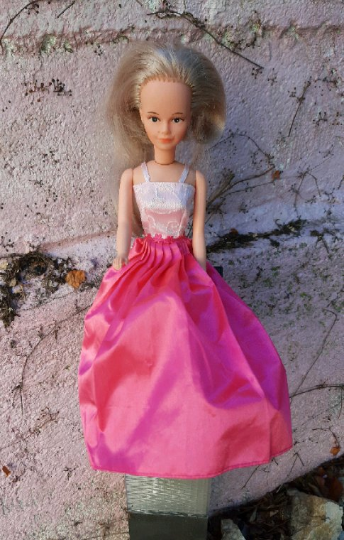 Une jolie Tressy qui m'arrive d'Angers, cadeau de ma copine Martine. La robe appartient peut-être à Barbie.