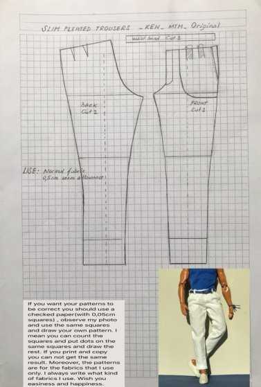 Patron pour coudre un pantalon pour Ken...