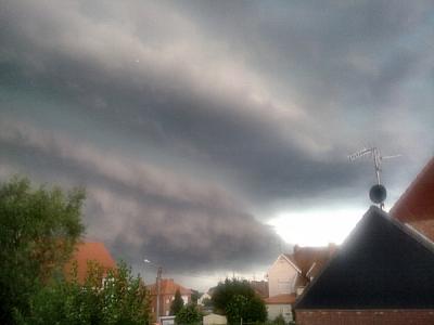 Un orage à Hautmont le 14 juillet 2010 .