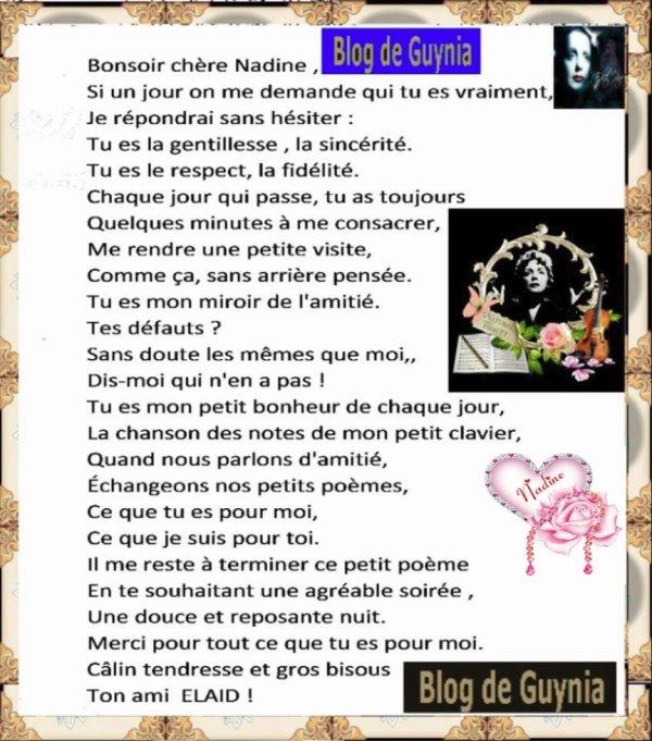 Poème de chère NADINE !