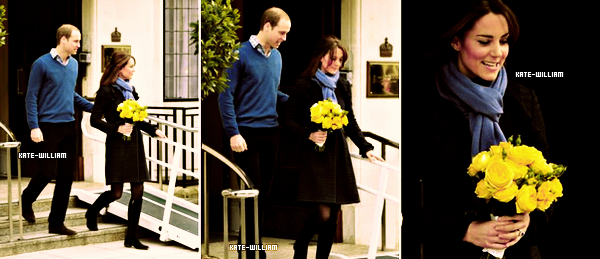 "* 06/12/12 : Kate quittait l'hôpital ""The King Edwards VII"" en compagnie de son mari, William.*"