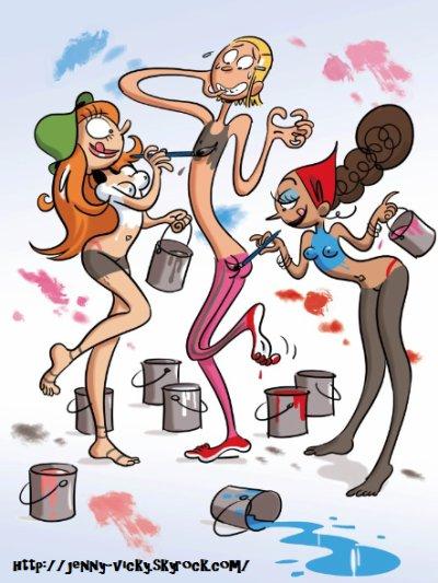 Dessin non retenu pour le calendrier 2009 du magazine Spirou «Tous à poil !».