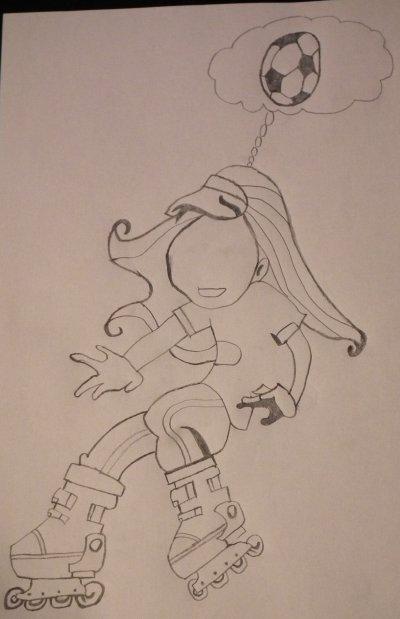 Petit dessin pour une amie footballeuse et qui avec qui je fais du roller !