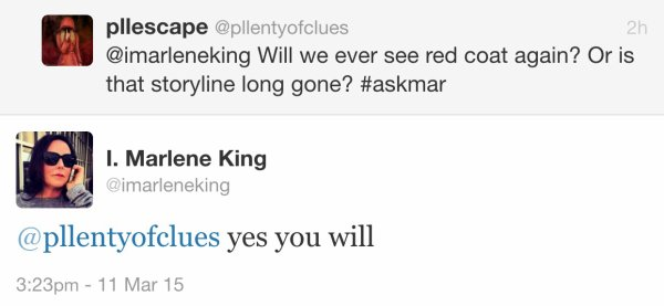 TWEETS DE MARLENE KING SUR NOS MULTIPLES QUESTIONS