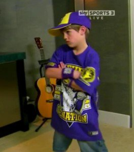 MattyB little John Cena and The Rock, in WWE RAW