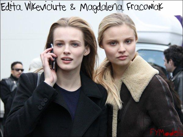 Photo of the Day Edita Vilkeviciute & Magdalena Fracowiak outside Hermès FW10.11, Paris Fashion Week