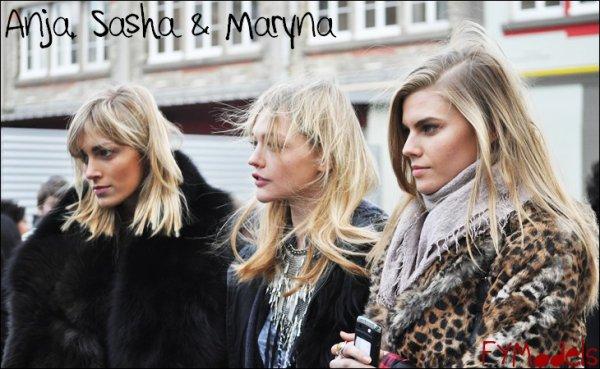 Photo of the Day Anja Rubik, Sasha Pivovarova & Maryna Linchuk, Paris Fashion Week