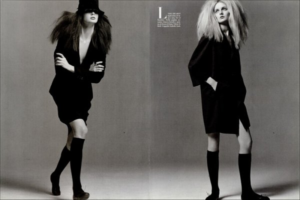 Editorial Lisa & Lydia | Lisa Cant & Lydia Hearst | Vogue Italia | April 2004 | Shot by Steven Meisel