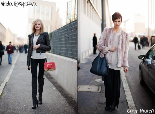 Street Style Skinny pants, fur coats & leather jackets.