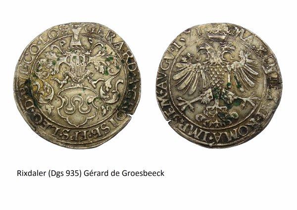 Gérard de Groesbeeck (1564-1580) et le rixdaler (Dgs 935, Chestret 514) atelier d'Hasselt