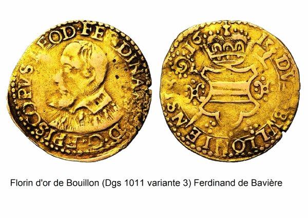 Ferdinand de Bavière (1612-1650) et le florin d'or (Dgs 1011, Chestret 573) atelier de Bouillon