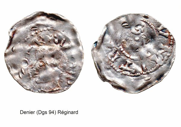 Réginard (1025-1037) et le denier (Dgs 94, Chestret 6) atelier de Maastricht