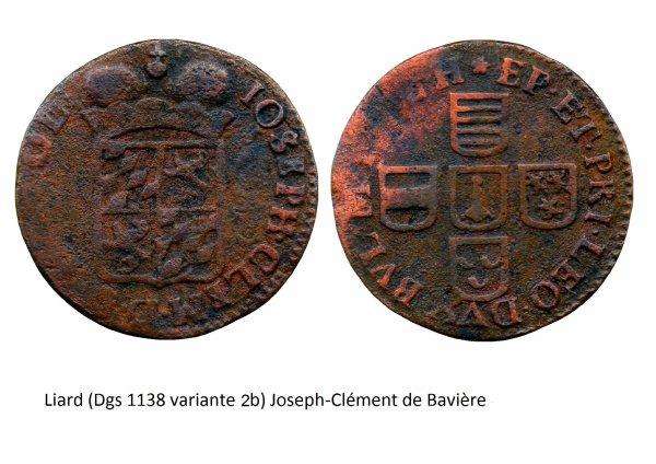 Joseph-Clément de Bavière (1694-1723) et le liard (Dgs 1138, Chestret 664) atelier de Liège