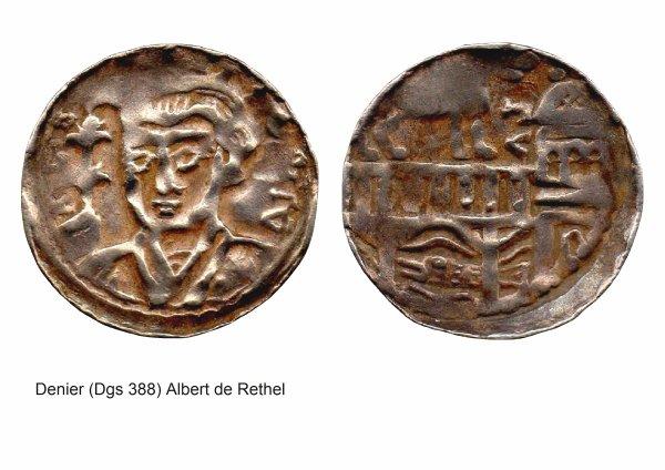 Albert de Rethel (1191-1194) et le denier (Dgs 388, Chestret 132) atelier de Visé
