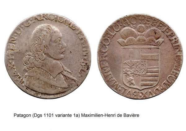Maximilien-Henri de Bavière (1650-1688) et le patagon (Dgs 1101, Chestret 639) atelier de Liège