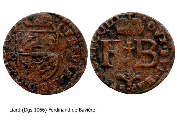 Ferdinand de Bavière (1612-1650) et le liard (Dgs 1066, Chestret 624) atelier de Liège
