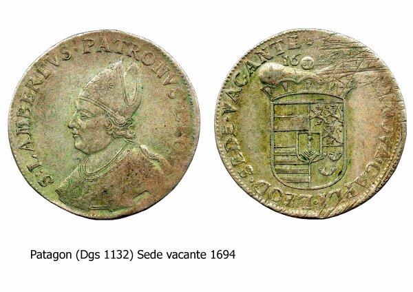 Sede vacante 1694 et le patagon (Dgs 1132, Chestret 658) atelier de Liège