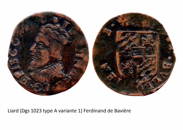 Ferdinand de Bavière (1612-1650) et le liard (Dgs 1023, Chestret 619) atelier de Bouillon