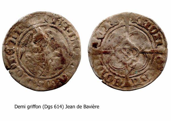 Jean de Bavière (1389-1418) et le demi-griffon (Dgs 614, Chestret 291) atelier de Liège