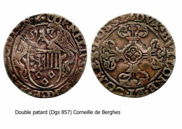 Corneille de Berghes (1538-1544) et le double patard (Dgs 857, Chestret 462) atelier d'Hasselt
