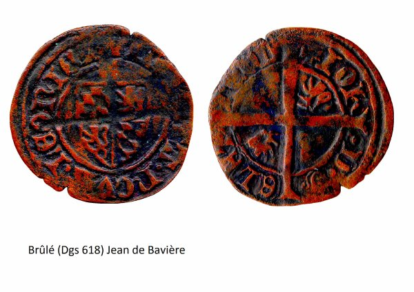 Jean de Bavière (1389-1418) et le brûlé (Dgs 618, Chestret 296) atelier de Liège
