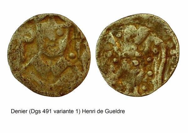 Henri de Gueldre (1247-1274) et le denier (Dgs 491, Chestret 179) atelier de Maastricht