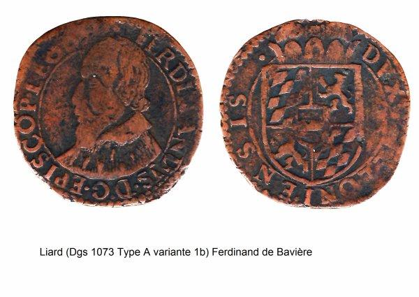 Ferdinand de Bavière (1612-1650) et le liard (Dgs 1073, Chestret 618) atelier de Liège