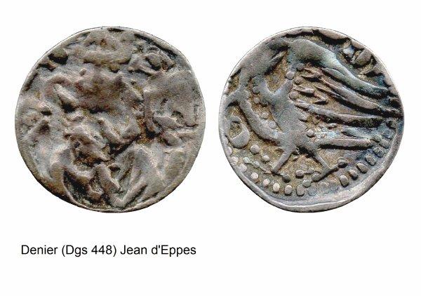 Jean d'Eppes (1229-1238) et le denier (Dgs 448, Chestret 187) atelier de Tongres