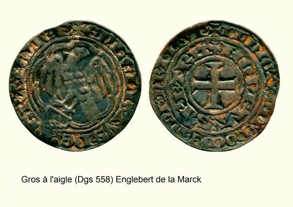Englebert de La Marck (1344-1364) et le Gros à l'aigle (Dgs 558, Chestret 244) atelier de Maastricht