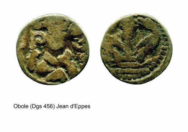 Jean d'Eppes (1229-1238) et l'obole (Dgs 456, Chestret 193) atelier de Huy